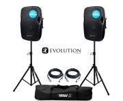 Evolution Audio RZ12A V3 Active Speakers (Pair) with Stands and Cables