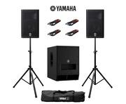 Yamaha DXR10 (Pair) & DXS12 MK2 with Stands & Cables