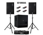 Yamaha DXR15 (Pair) & DXS18 with Stands & Cables