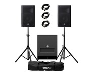 Yamaha DXR10 (Pair) with DXS12 mk II with Stands & Cables
