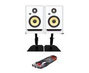 KRK RP7 G4 White Noise w/ Monitor Stands + Cable