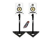 KRK RP7 G4 White Noise w/ Studio Stands + Cable