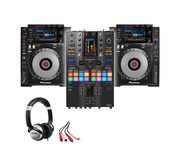 Pioneer CDJ-900NXS (x2) + DJM-S11 SE with Headphones + Cable