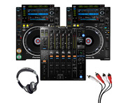 Pioneer CDJ-2000 NXS2 (Pair) + DJM-900 NXS2 with Headphones + Cable