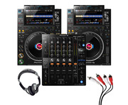 Pioneer CDJ-3000 (Pair) + DJM-750 MK2 with Headphones + Cable