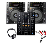 Pioneer CDJ-850 (Pair) + DJM-450 with Headphones + Cable