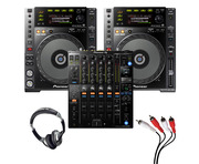 Pioneer CDJ-850 (Pair) + DJM-900 NXS2 with Headphones + Cable