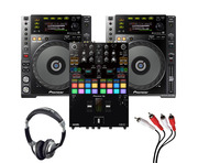 Pioneer CDJ-850K (Pair) + DJM-S7 with Headphones + Cable