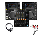 Pioneer XDJ-700 (Pair) + DJM-750 MK2 with Headphones + Cable