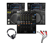 Pioneer XDJ-700 (Pair) + DJM-900 NXS2 with Headphones + Cable