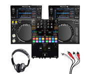 Pioneer XDJ-700 (Pair) + DJM-S7 with Heaphones + Cable