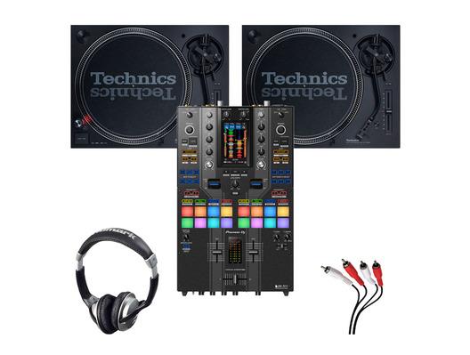 Technics SL-1210 MK7 (x2) + Pioneer DJM-S11 SE with Headphones + Cable