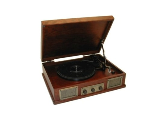 Steepletone USB Norwich Retro Wooden Record Player Dark Wood