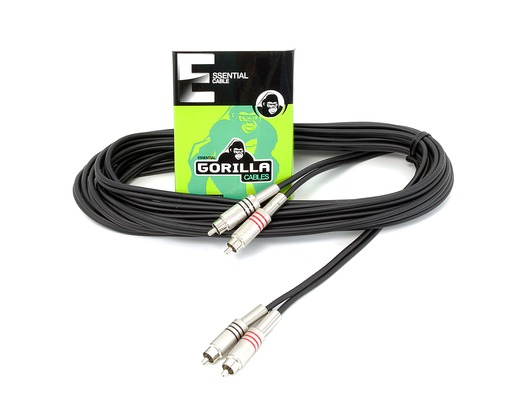Gorilla Essential Cable 6m 2 x RCA Phono To 2 x RCA Phono Twin Lead