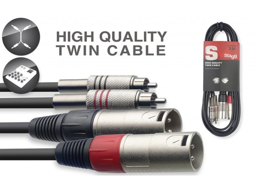 STAGG STC060CMXM Cable 2x Male XLR To 2x RCA Phono Twin Lead