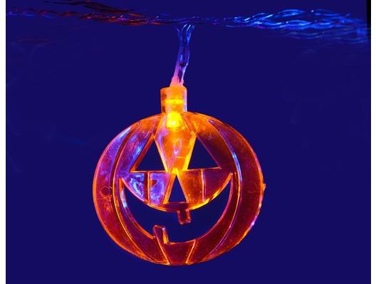QTX LED Halloween String Lights - 10 x Orange Pumpkins