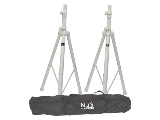 NJS White Speaker Stands & Carry Bag Kit