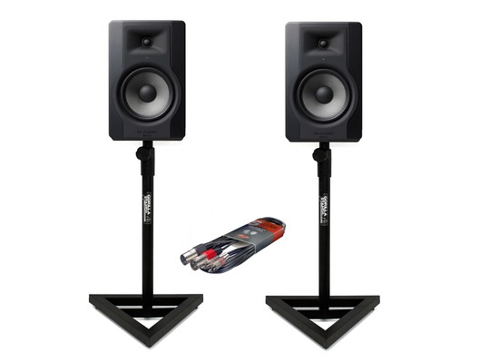 2x M-Audio BX8 D3 with Stands & Cable