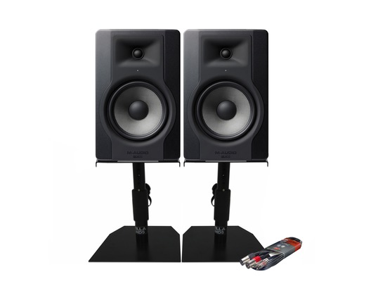2x M-Audio BX8 D3 with GSM-50 Stands & Cable