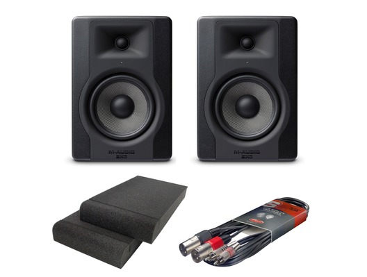 2x M-Audio BX5 D3 with Isolation Pads & Cable