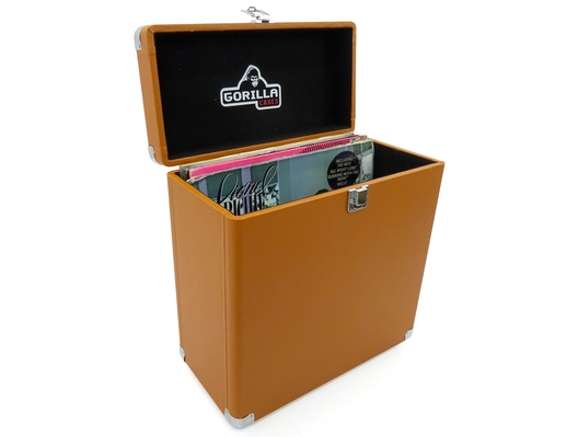 "Gorilla LP-45 12"" Vinyl Record Retro Storage Box (Tobacco)"