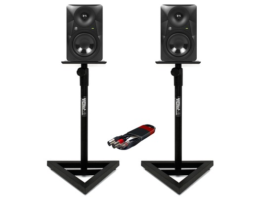 Mackie MR524 (Pair) with GSM-100 Stands & Cable