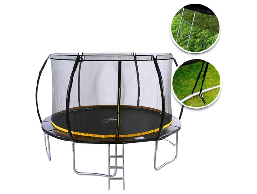 Kanga 12ft Trampoline With Safety Net Enclosure, Ladder and Anchor Kit