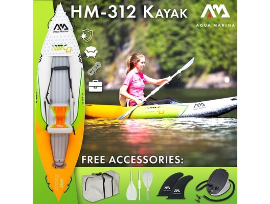 2019 Aqua Marina Betta HM-K0 Single 1 Person Inflatable Kayak Inc Paddle