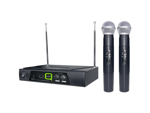 Q-Audio QWM 11 Twin Channel VHF Cordless Mic System