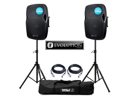 Evolution Audio RZ15A V3 Active Speaker (Pair) with Stands and Cables