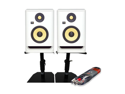 KRK RP8 G4 White Noise (Pair) w/ Monitor Stands & Cable