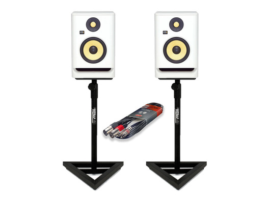 KRK RP8 G4 White Noise (Pair) w/ Studio Stands & Cable