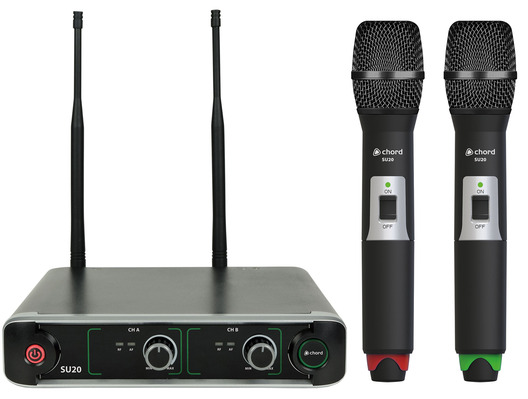 SU20 Dual UHF Handheld Mic Set Red + Green