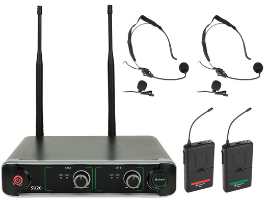 SU20 Dual UHF Beltpack Mic Set Red + Green