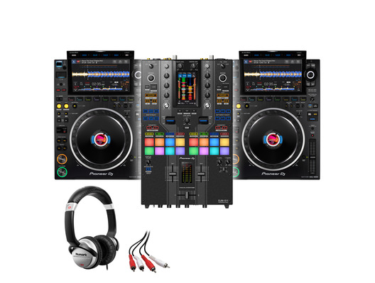 Pioneer CDJ-3000 (x2) + DJM-S11 SE with Headphones + Cable