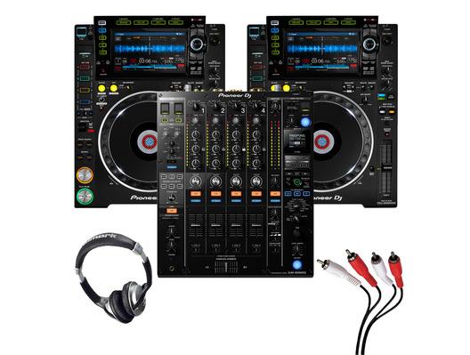Pioneer CDJ-2000 NXS2 (Pair) + DJM-900 NXS2 with Headphones + Cable
