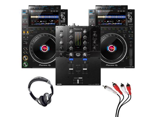 Pioneer CDJ-3000 (Pair) + DJM-S3 with Headphones + Cable