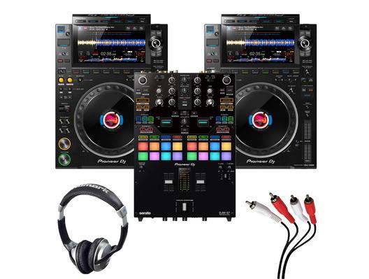 Pioneer CDJ-3000 (Pair) + DJM-S7 with Headphones + Cable