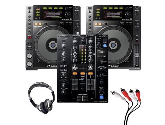 Pioneer CDJ-850 (Pair) + DJM-450 with Headphones + Cable