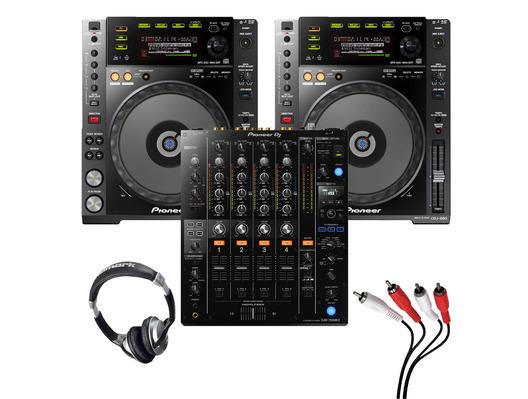 Pioneer CDJ-850 (Pair) + DJM-750MK2 with Headphones + Cable