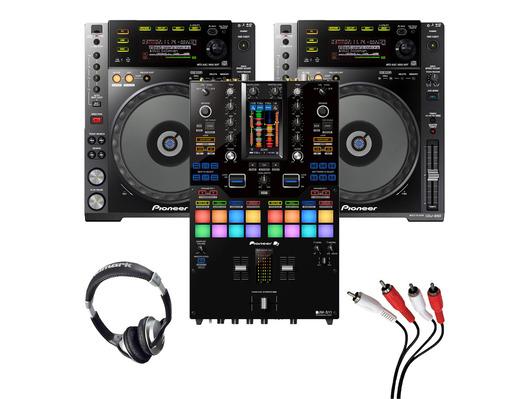 Pioneer CDJ-850 (Pair) + DJM-S11 with Headphones + Cable