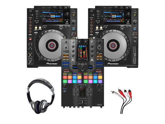 Pioneer CDJ-900NXS (x2) + DJM-S11 SE with Headphones + Cable