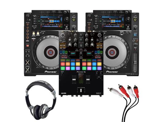 Pioneer CDJ900 Nexus (Pair) + DJM-S7 with Headphones + Cable