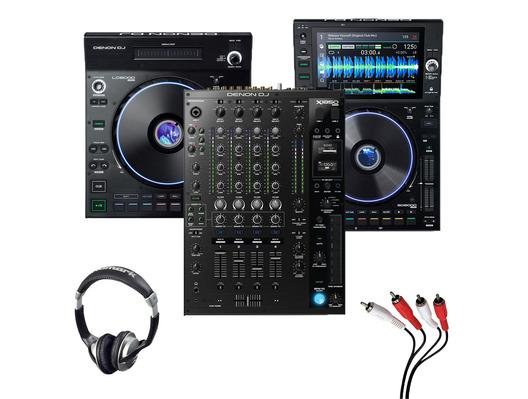 Denon LC6000 + SC6000 + X1850 Mixer with Headphones + Cable