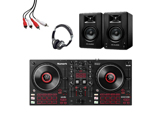 Numark Mixtrack Platinum FX + M-Audio BX3 (Pair) with Headphones + Lead