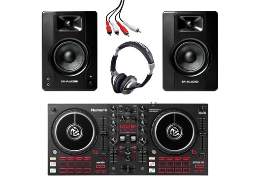 Numark Mixtrack Pro FX + M-Audio BX4 (Pair) with Headphones + Cable