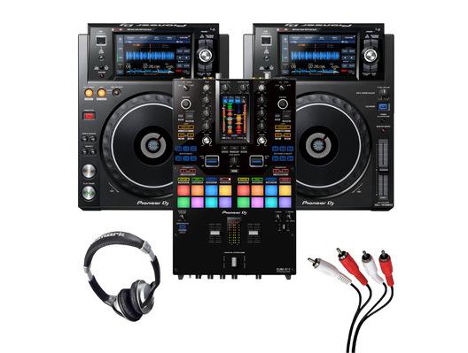 Pioneer XDJ-1000 MK2 (Pair) + DJM-S11 with Headphones + Cable