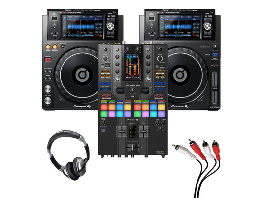 Pioneer XDJ-1000 MK2 (Pair) + DJM-S11 SE with Headphones + Cable