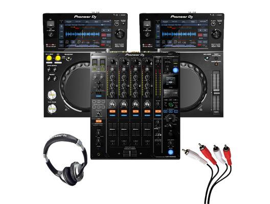 Pioneer XDJ-700 (Pair) + DJM-900 NXS2 with Headphones + Cable