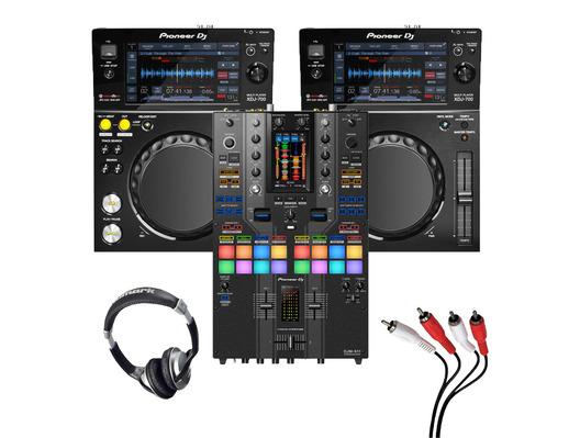 Pioneer XDJ-700 (Pair) + DJM-S11 SE with Headphones + Cable